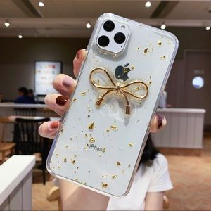 Accessories - iPhone Clear Gold Glitter Bow Case